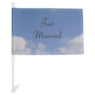 Just Married Newlyweds Car Flag