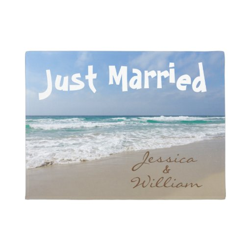 Just Married On The Beach Personalized Names Doormat Zazzle