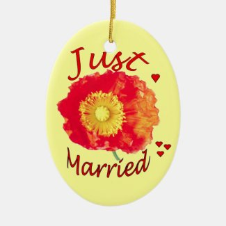 """Just Married"" Orange Poppy Ornament"