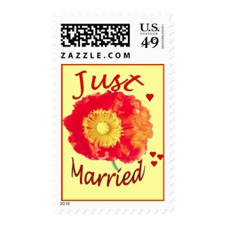 """""""Just Married"""" Orange Poppy Postage Stamps"""