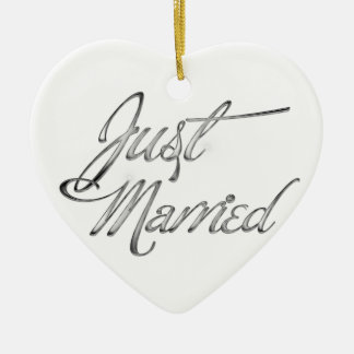 Just Married Double-Sided Heart Ceramic Christmas Ornament
