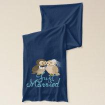 Just married Owls couple - aqua blue Scarf