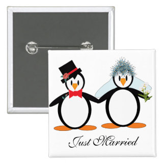 Just Married Pengos 2 Inch Square Button