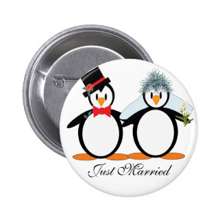 Just Married Pengos Pinback Button