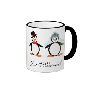 Just Married Pengos Ringer Coffee Mug