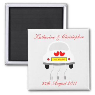 Just married personalised name & date magnet