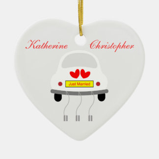 Just married personalised names ornament