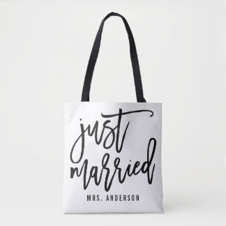 Just Married Personalized Honeymoon Tote Bag