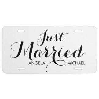 """Just Married"" personalized license plate"