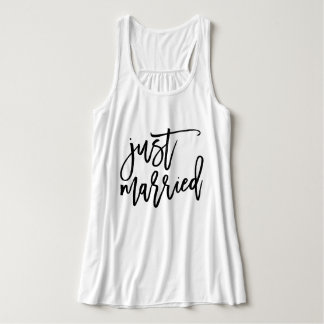 Just Married Personalized Typography Flowy Racerback Tank Top