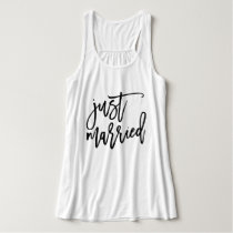 Just Married Personalized Typography Tank Top