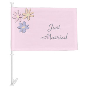 Just Married Pink Car Flag