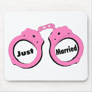 Just Married Pink Handcuffs Mouse Pad
