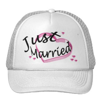 """""""Just Married"""" Pink Heart Hat"""