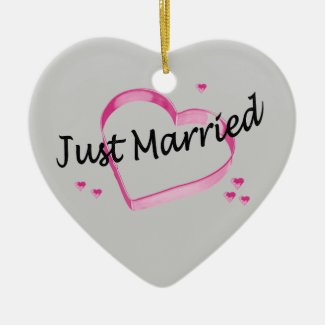 """""""Just Married"""" Pink Heart Ornament"""