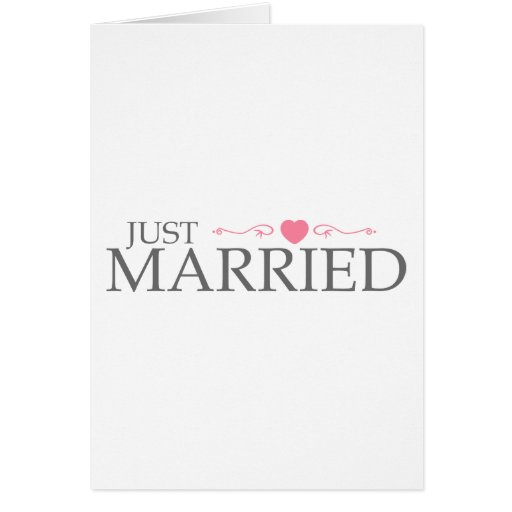 Just Married (Pink Heart Scroll) Greeting Card