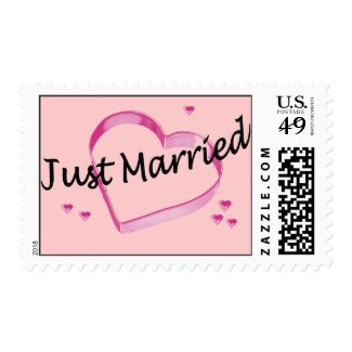"""""""Just Married"""" Pink Hearts Postage Stamps"""