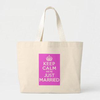 Just Married Pink Jumbo Tote Bag