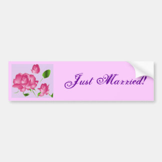 """""""Just Married"""" Pink Lavender Rose Bumper Sticker"""