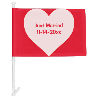Just Married Pink Red Love Heart and Custom Date Car Flag