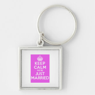 Just Married Pink Silver-Colored Square Keychain