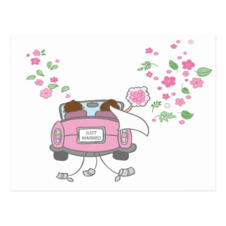 Just Married Pink Wedding Announcement  Post Card