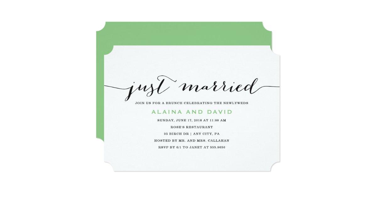 Just Married Post Wedding Brunch Invitation | Zazzle.com