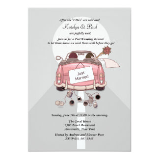 Just Married Post Wedding Brunch Invitation - Grey