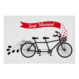 Just married poster, wedding tandem bicycle poster