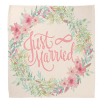 Just Married Pretty Pink Teal Coral Floral Design Bandana