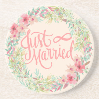 Just Married Pretty Pink Teal Coral Floral Design Coaster