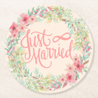 Just Married Pretty Pink Teal Coral Floral Design Round Paper Coaster