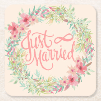 Just Married Pretty Pink Teal Coral Floral Design Square Paper Coaster