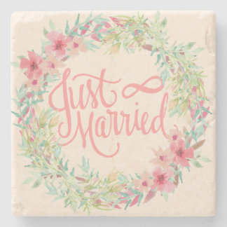 Just Married Pretty Pink Teal Coral Floral Design Stone Coaster