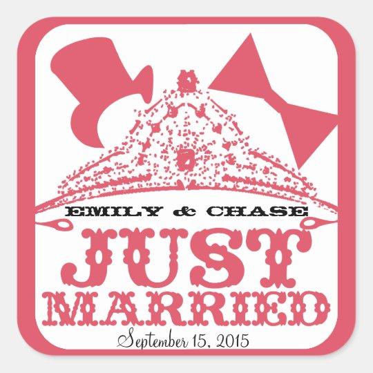Just Married Princess Bride Tiara Wedding Sticker