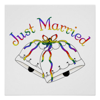 Just Married Rainbow Gay Marriage Posters