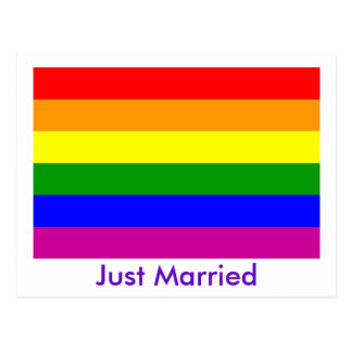 Just Married Rainbow Pride Post Cards