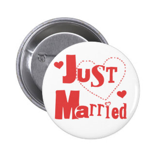 Just Married Red Heart Pinback Button