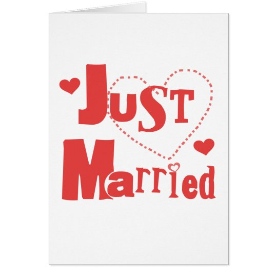 Just Married Red Heart Card