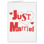 Just Married Red Heart Greeting Cards