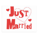 Just Married Red Heart Post Card
