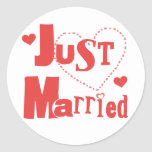Just Married Red Heart Round Stickers
