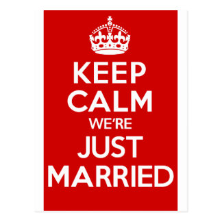 Just Married Red Postcard