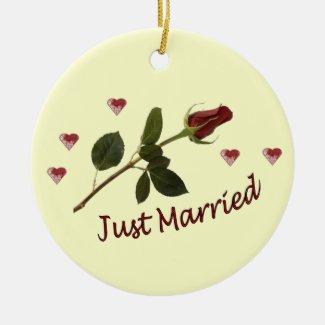"""""""Just Married"""" Red Rose and Hearts Ornament"""