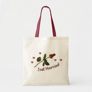 """""""Just Married"""" Red Rose and Hearts Tote Bag"""