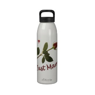 """""""Just Married"""" Red Rose and Hearts Water Bottle"""