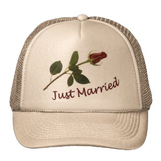 """""""Just Married"""" Red Rose Hat"""