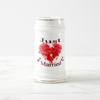 """""""Just Married"""" Red Rose Petal Hearts Stein Coffee Mugs"""