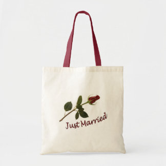 """""""Just Married"""" Red Rose Tote Bag"""