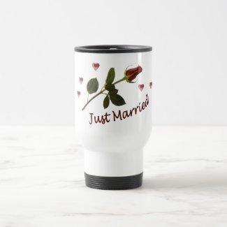 """Just Married"" Red Rose Travel Mug"